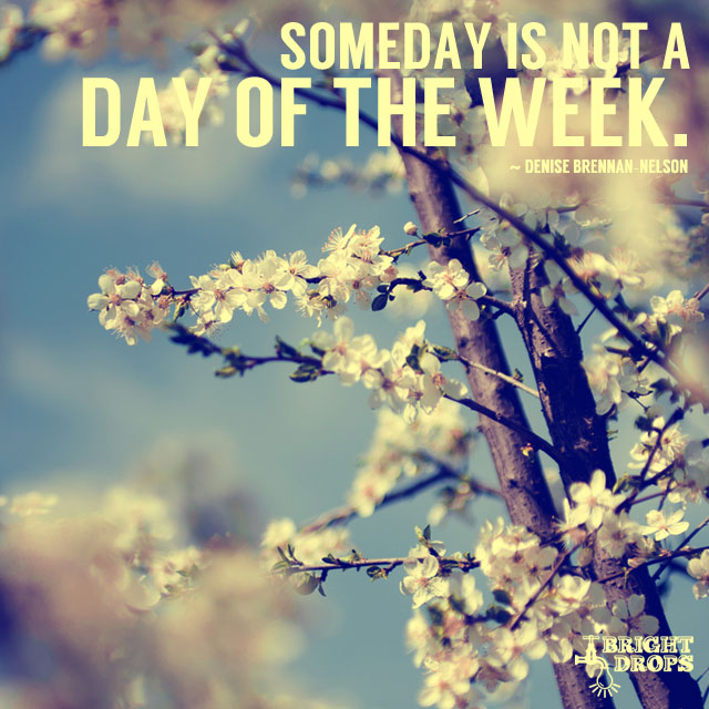 """Someday is not a day of the week."" ~Denise Brennan-Nelson"