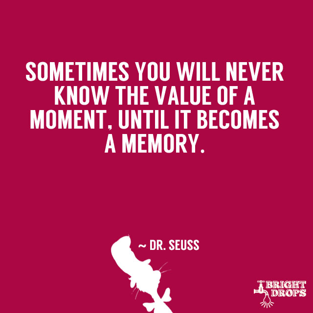 """Sometimes you will never know the value of a moment, until it becomes a memory."" ~ Dr. Seuss"