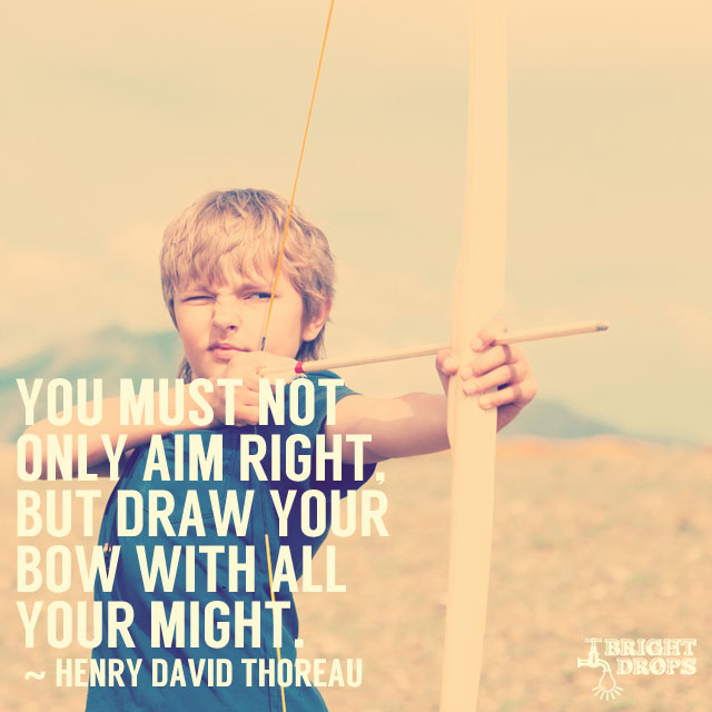 """You must not only aim right, but draw the bow with all your might."" ~Henry David Thoreau"
