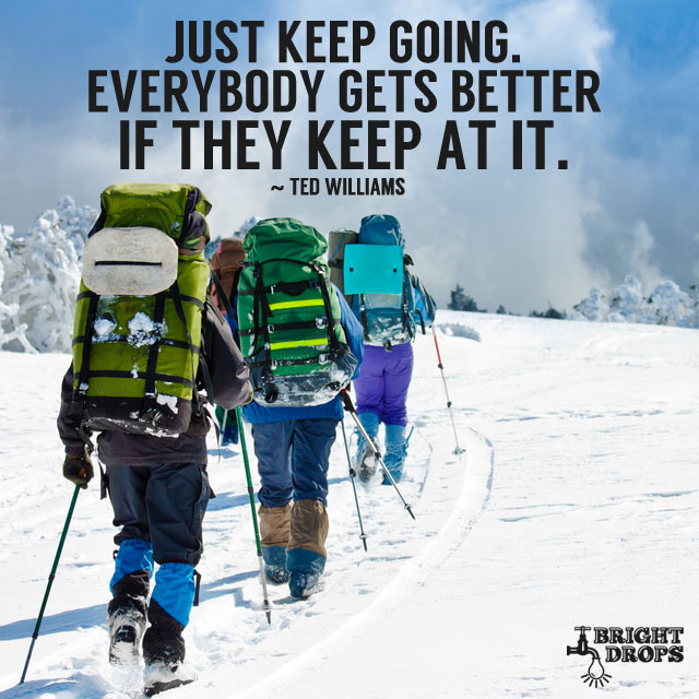 """Just keep going. Everybody gets better if they keep at it."" ~Ted Williams"