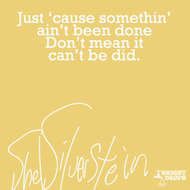 """Just 'cause somethin' ain't been done Don't mean it can't be did."" ~Shel Silverstein"