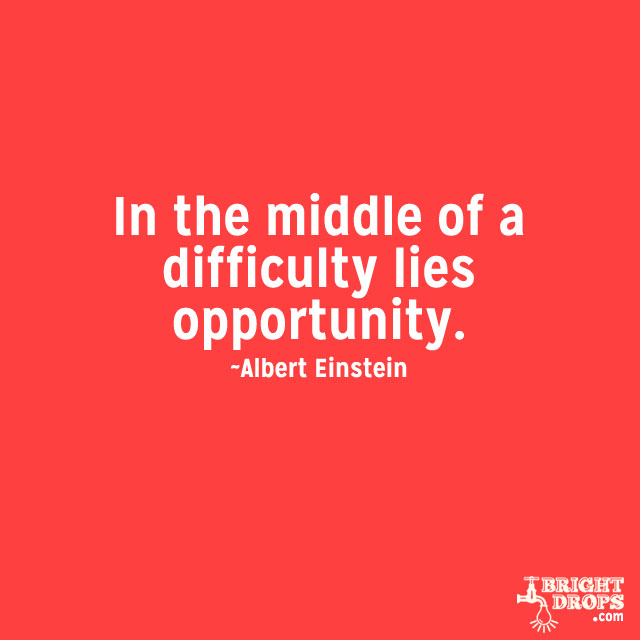 """In the middle of a difficulty lies opportunity."" ~Albert Einstein"