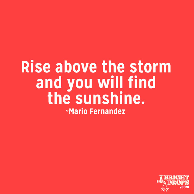 """Rise above the storm and you will find the sunshine."" ~Mario Fernandez"