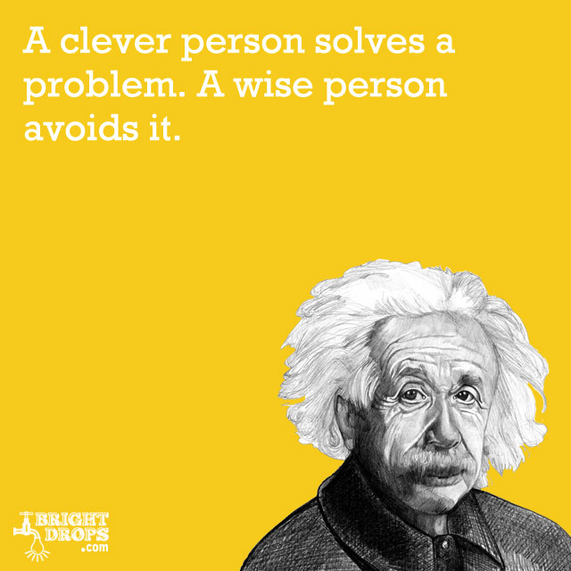 """A clever person solves a problem. A wise person avoids it."" -Albert Einstein"