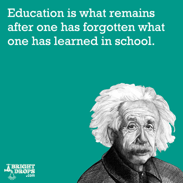 """Education is what remains after one has forgotten what one has learned in school."" -Albert Einstein"