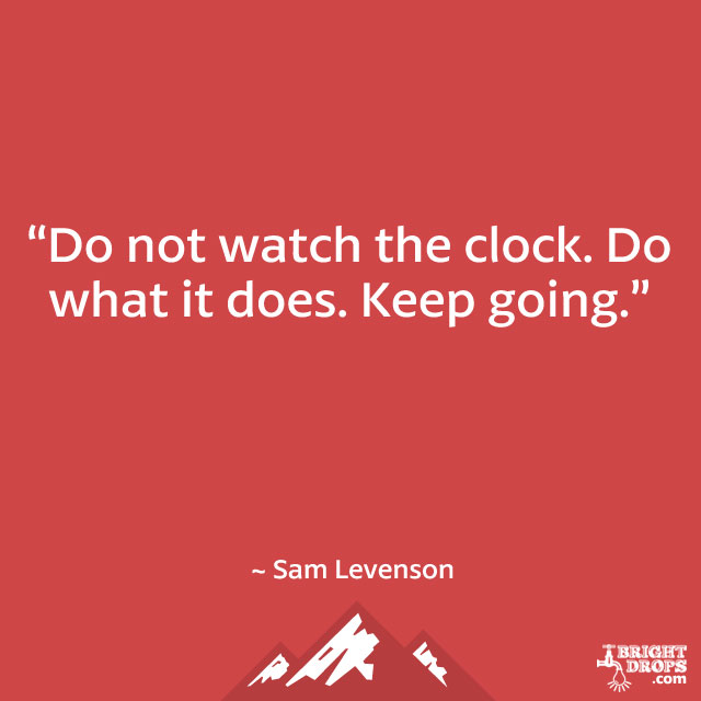 """Do not watch the clock. Do what it does. Keep going."" ~ Sam Levenson"