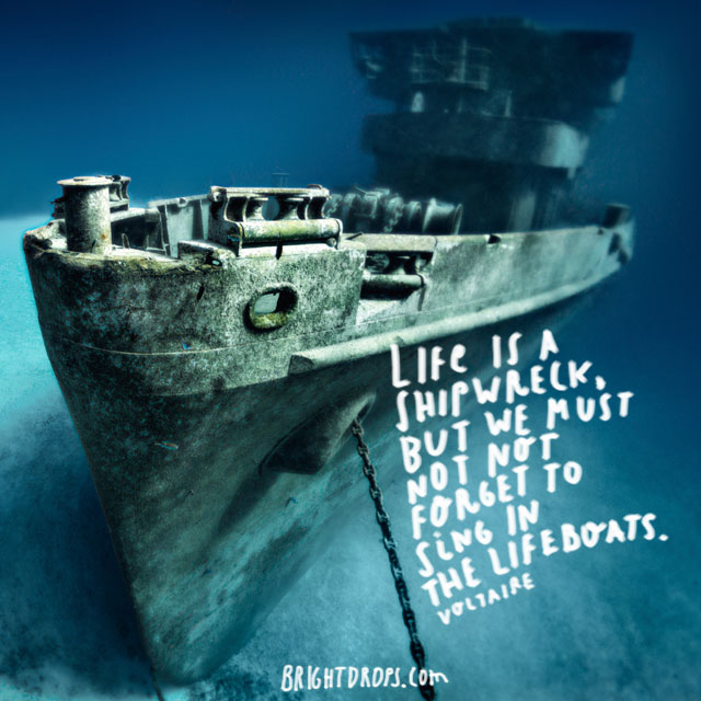 """Life is a shipwreck, but we must not forget to sing in the lifeboats."" ~ Voltaire"