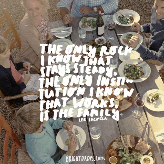 """""""The only rock I know that stays steady, the only institution I know that works, is the family."""" - Lee Iacocca"""