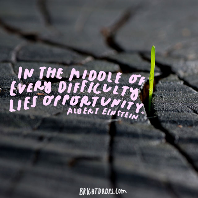 """In the middle of every difficulty lies opportunity."" - Albert Einstein"