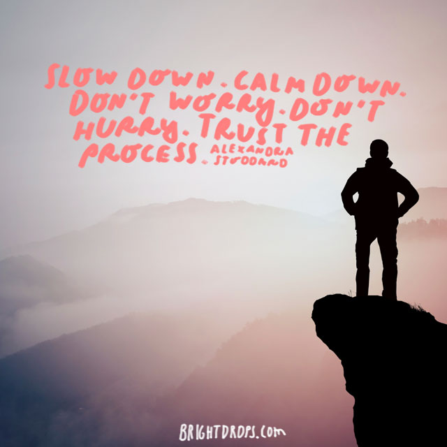 """""""Slow down. Calm down. Don't worry. Don't hurry. Trust the process."""" - Alexandra Stoddard"""