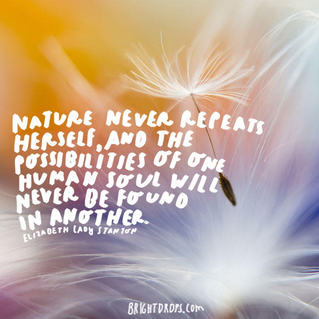 """Nature never repeats herself, and the possibilities of one human soul will never be found in another.""  - Elizabeth Cady Stanton"