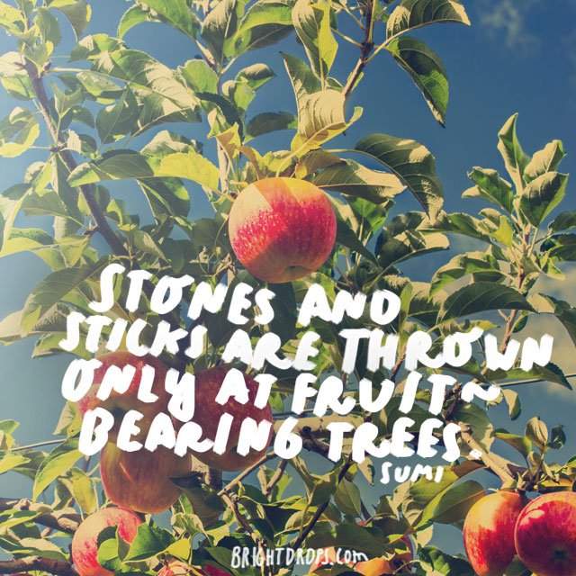 """Stones and sticks are thrown only at fruit-bearing trees."" - Sumi"
