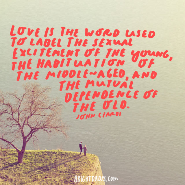 """""""Love is the word used to label the sexual excitement of the young, the habituation of the middle-aged, and the mutual dependence of the old."""" - John Ciardi"""