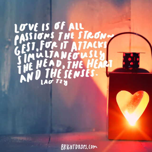 """""""Love is of all passions the strongest, for it attacks simultaneously the head, the heart and the senses."""" - Lao Tzu"""