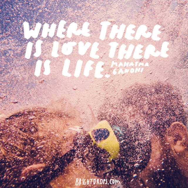 """Where there is love there is life."" - Mahatma Gandhi"