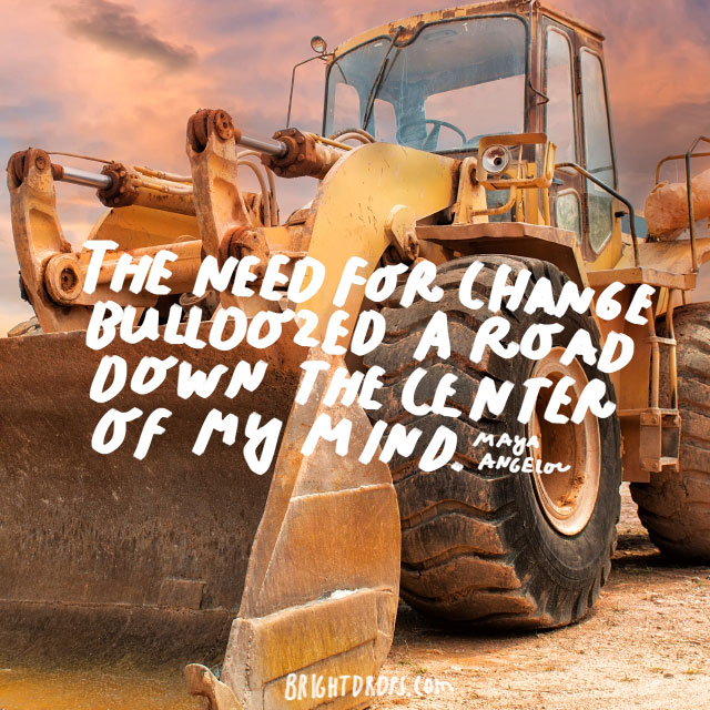 """The need for change bulldozed a road down the center of my mind."" - Maya Angelou"