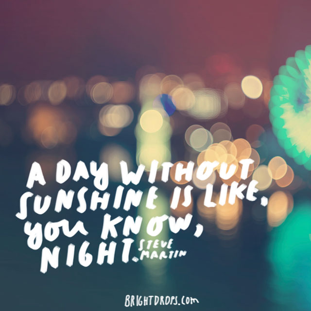 """A day without sunshine is like, you know, night."" - Steve Martin"