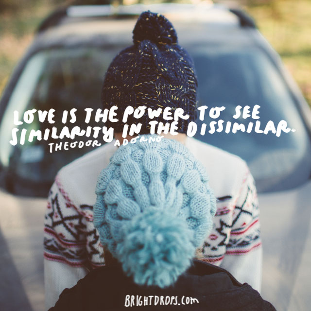"""""""Love is the power to see similarity in the dissimilar."""" - Theodor Adorno"""