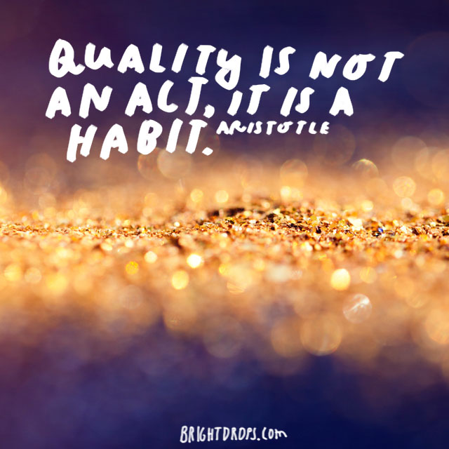"""Quality is not an act, it is a habit."" - Aristotle"