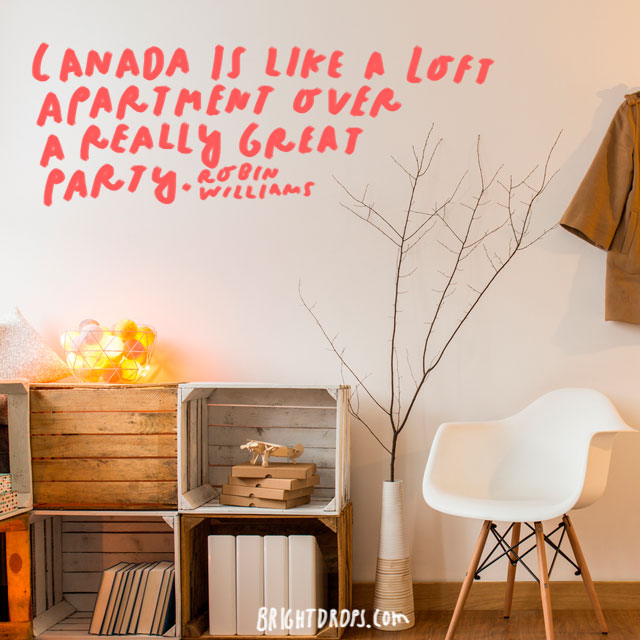 """Canada is like a loft apartment over a really great party."" - Robin Williams"