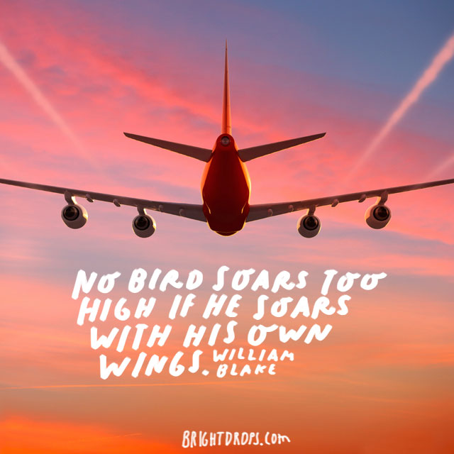 """No bird soars too high if he soars with his own wings."" - William Blake"
