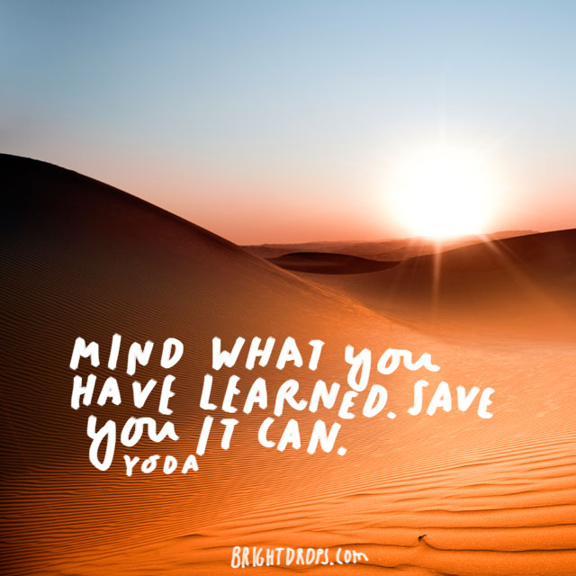 """Mind what you have learned. Save you it can."" - Yoda"