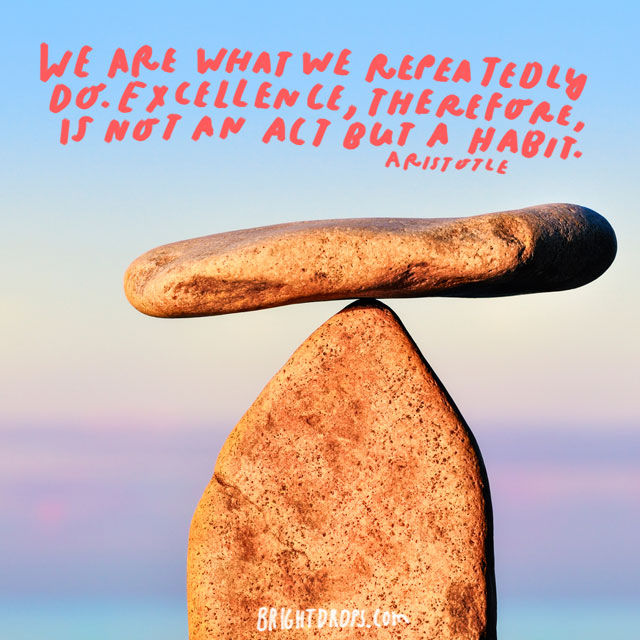 """We are what we repeatedly do. Excellence, therefore, is not an act but a habit."" - Aristotle"