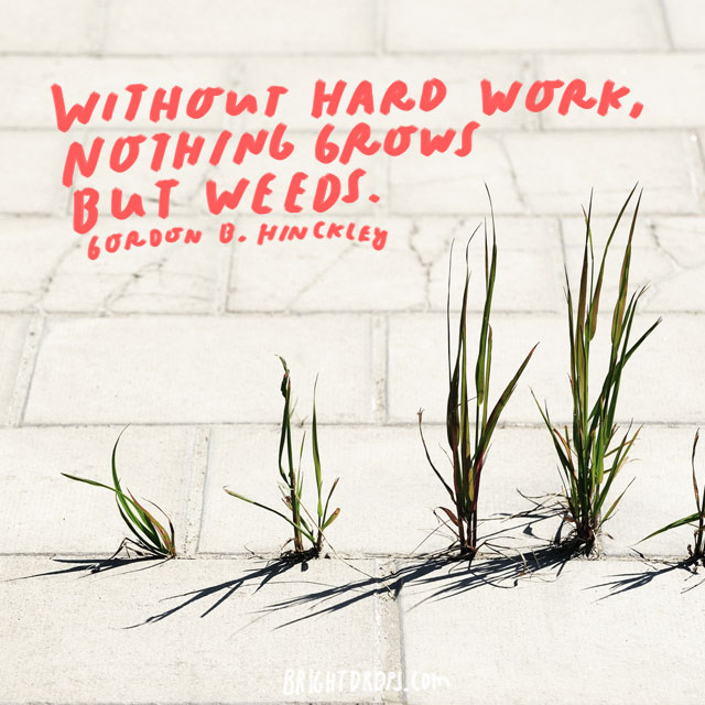 """Without hard work, nothing grows but weeds."" - Gordon B. Hinckley"