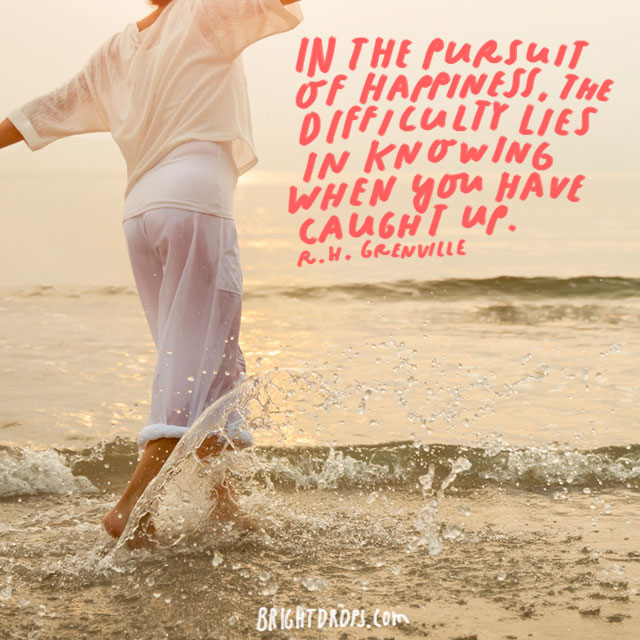 """In the pursuit of happiness, the difficulty lies in knowing when you have caught up."" - R. H. Grenville"