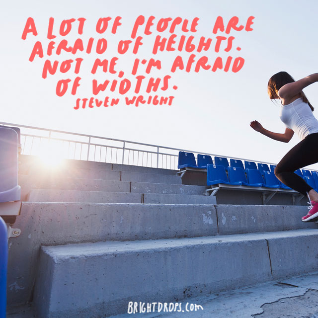"""A lot of people are afraid of heights. Not me, I'm afraid of widths."" - Steven Wright"