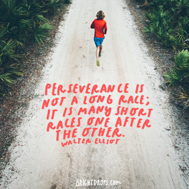 """Perseverance is not a long race; it is many short races one after the other."" - Walter Elliot"