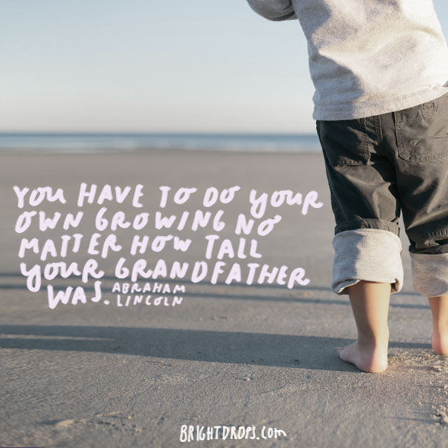 """You have to do your own growing no matter how tall your grandfather was."" - Abraham Lincoln"