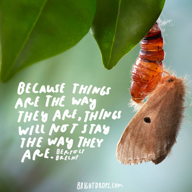 """Because things are the way they are, things will not stay the way they are."" - Bertolt Brecht"