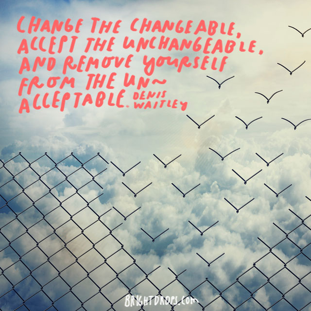 """Change the changeable, accept the unchangeable, and remove yourself from the unacceptable."" - Denis Waitley"