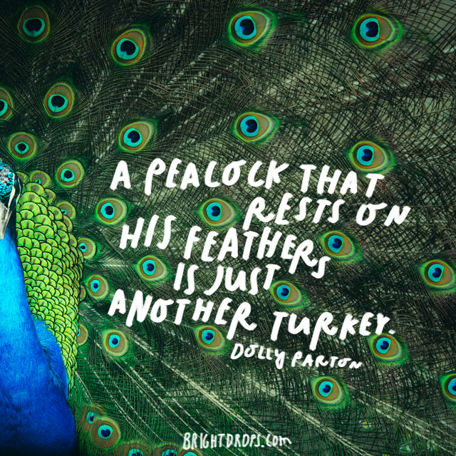 """A peacock that rests on his feathers is just another turkey."" - Dolly Parton"