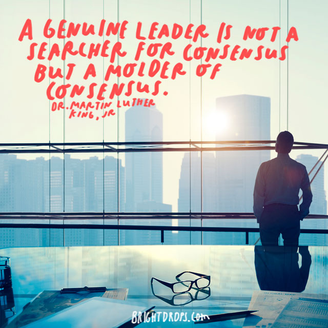 """A genuine leader is not a searcher for consensus but a molder of consensus."" - Dr. Martin Luther King, Jr."