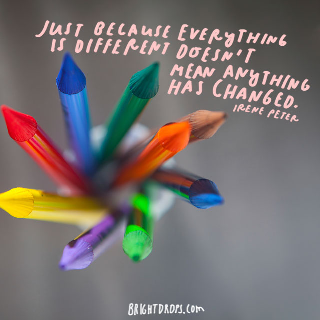 """Just because everything is different doesn't mean anything has changed."" - Irene Peter"