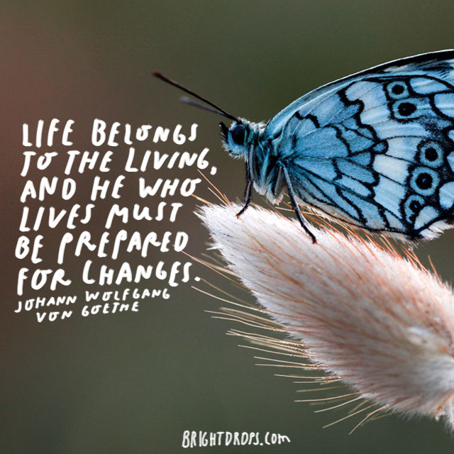 """Life belongs to the living, and he who lives must be prepared for changes."" - Johann Wolfgang von Goethe"