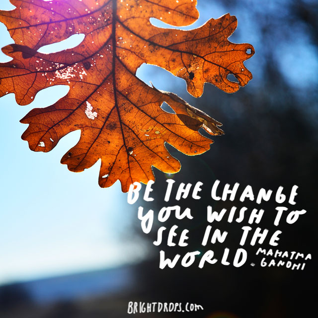 """Be the change you wish to see in the world."" - Mahatma Gandhi"