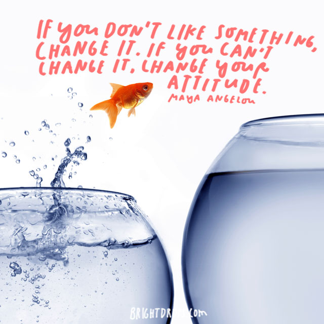"""If you don't like something, change it. If you can't change it, change your attitude."" - Maya Angelou"