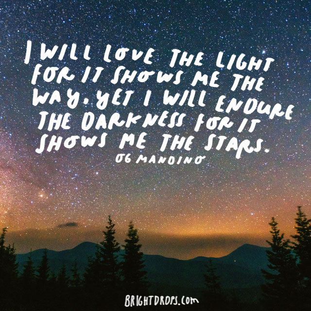 """I will love the light for it shows me the way, yet I will endure the darkness for it shows me the stars."" - Og Mandino"