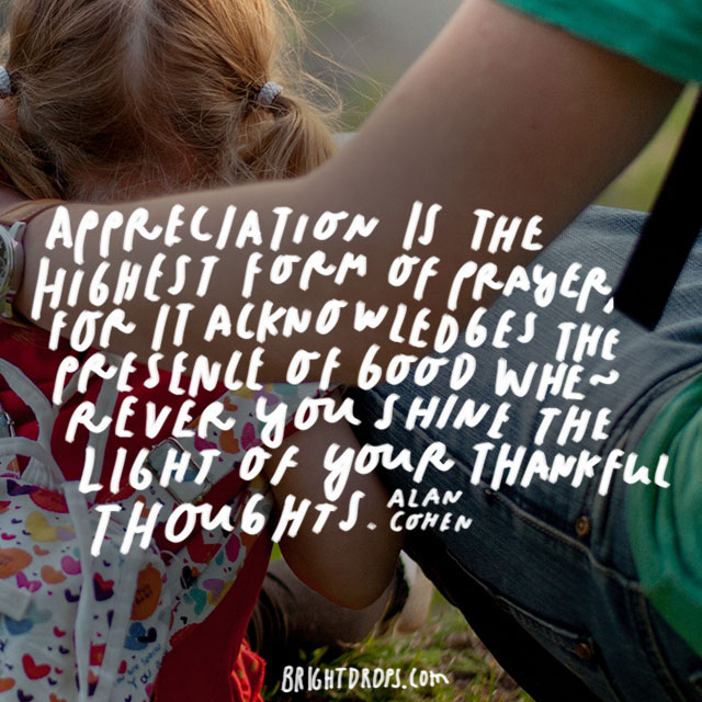 """Appreciation is the highest form of prayer, for it acknowledges the presence of good wherever you shine the light of your thankful thoughts."" - Alan Cohen"