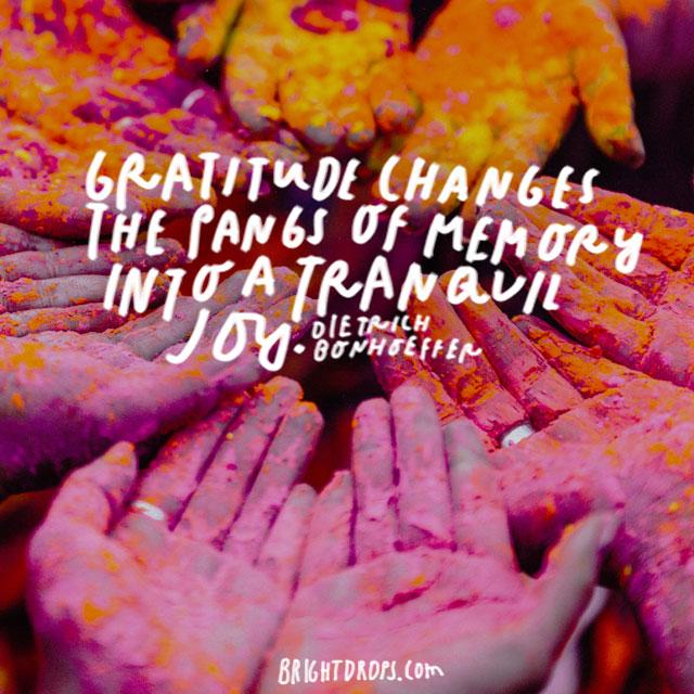 """Gratitude changes the pangs of memory into a tranquil joy."" - Dietrich Bonhoeffer"