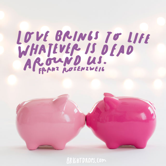 """Love brings to life whatever is dead around us"" - Franz Rosenzweig"