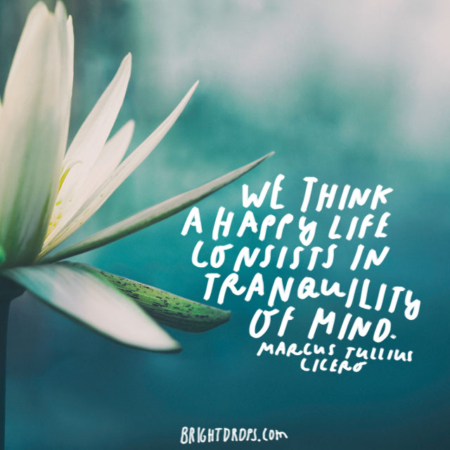 """We think a happy life consists in tranquility of mind."" – Marcus Tullius Cicero"