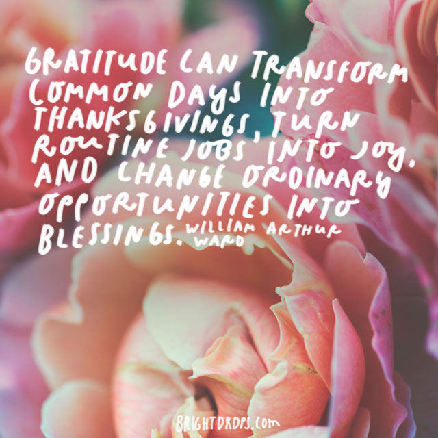 """""""Gratitude can transform common days into thanksgivings, turn routine jobs into joy, and change ordinary opportunities into blessings."""" - William Arthur Ward"""