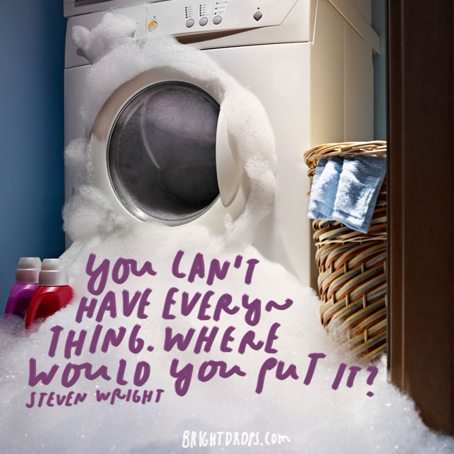 """You can't have everything. Where would you put it? "" - Steven Wright"