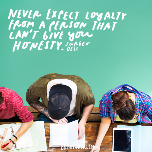 """Never Expect Loyalty From A Person That Can't Give You Honesty."" - Surgeo Bell"