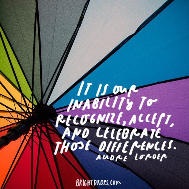 """""""It is our inability to recognize, accept, and celebrate those differences."""" - Audre Lorder"""