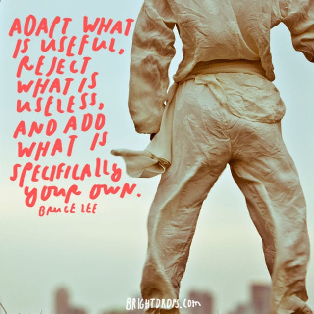 """Adapt what is useful, reject what is useless, and add what is specifically your own."" - Bruce Lee"